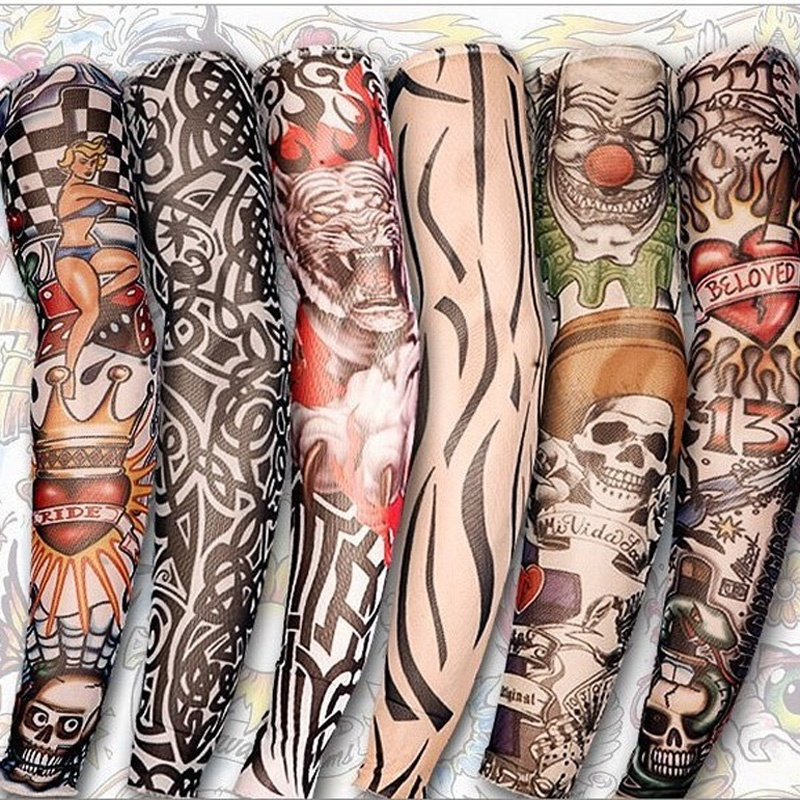 New  2 Pcs/lot Multicolor Punk Men Women UV Sunscreen Skull Theme Fake Tattoo Sleeves Arm Warmers