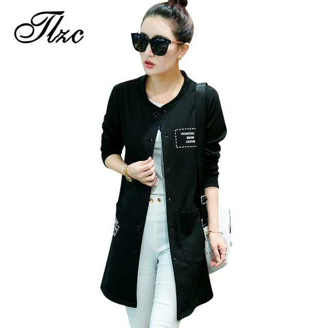 Tlzc mujeres de la moda trench coats plus size m-4xl o-cuello de la primavera otoño invierno negro/gris botón señora larga outwear