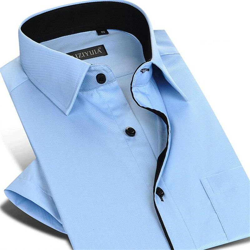 CAIZIYIJIA Summer Men Formal shirt Twill Short Sleeve Dress