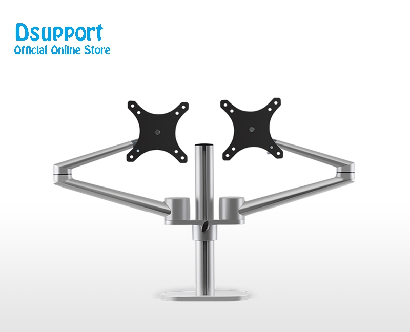Aluminum Height Adjustable 17 32 inch Dual Screen Monitor Holder Arm Full Motion Monitor Mount Bracket