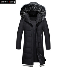 2019 Winter New Men's Long Down Jacket Clothes Thicken Warm White Duck Down Hooded Fur Collar Casual Coat Male Brand Clothing