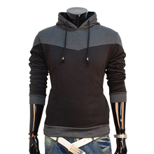 Hot new autumn and winter 2016 men's fashion casual Slim stitching spell color comfortable hedging hooded jacket