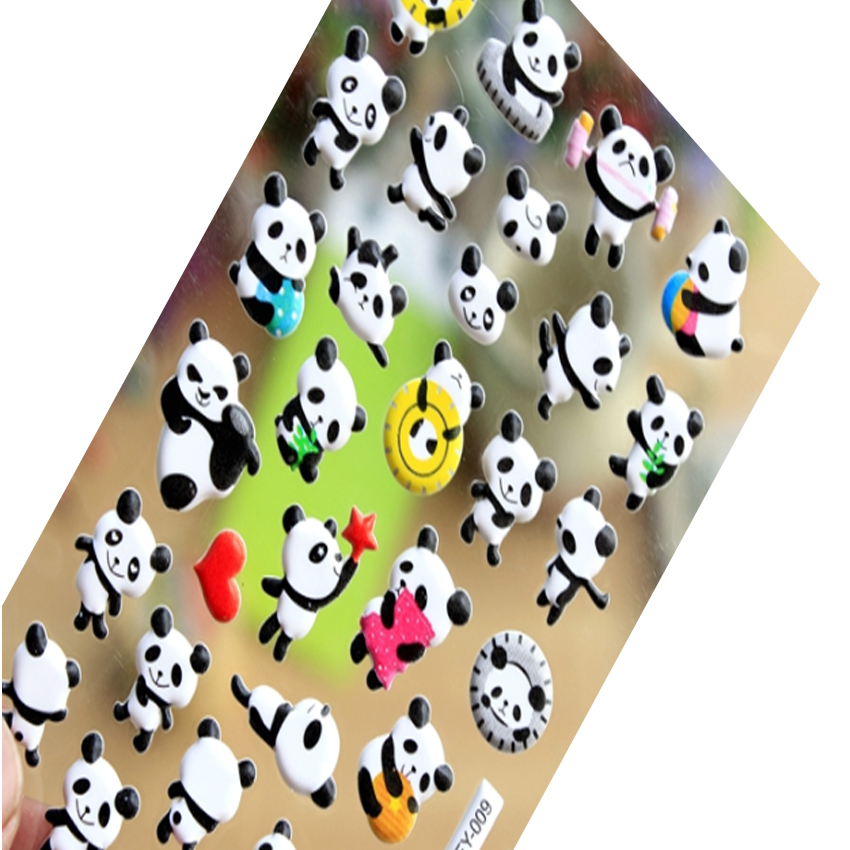 1pack/lot Lovely 3D Cartoon Panda Bubble Adhesive Stationery Sticker Children Decorative Sticker Kawaii Phone Deco Sticker