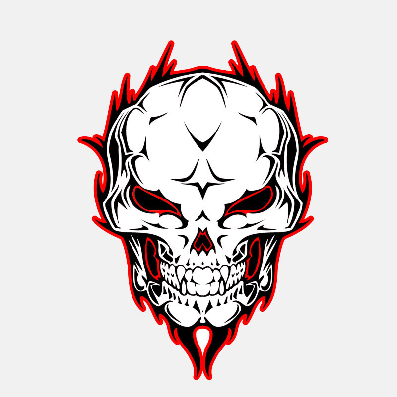 Car Stickers 11.3cm*15.4cm Car Styling Fire Skull Body Helmet Window Car Sticker Decal 6-2565