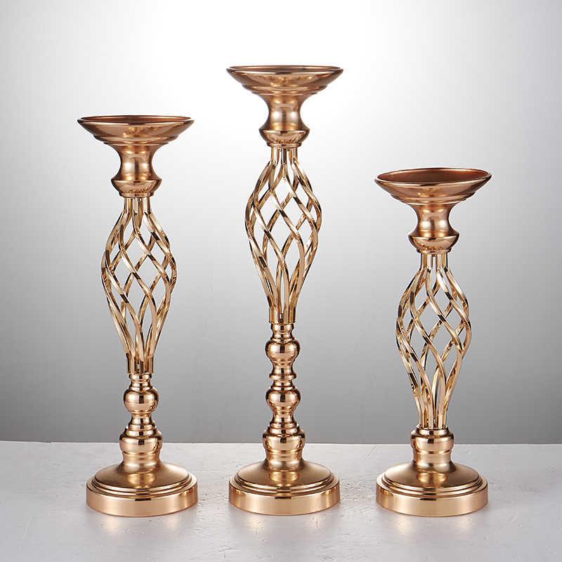 Креативный полый Золотой/Серебряный металлический подсвечник свадебный стол Центральная Цветочная стойка для вазы для дома и отеля дорожное украшение