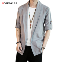 Linen Men Shirts Open Stitch Autumn Chest 104 128cm Linen Cotton Chinese Style Man Shirt Flax Sleeve Fold Solid Plus size M 5XL