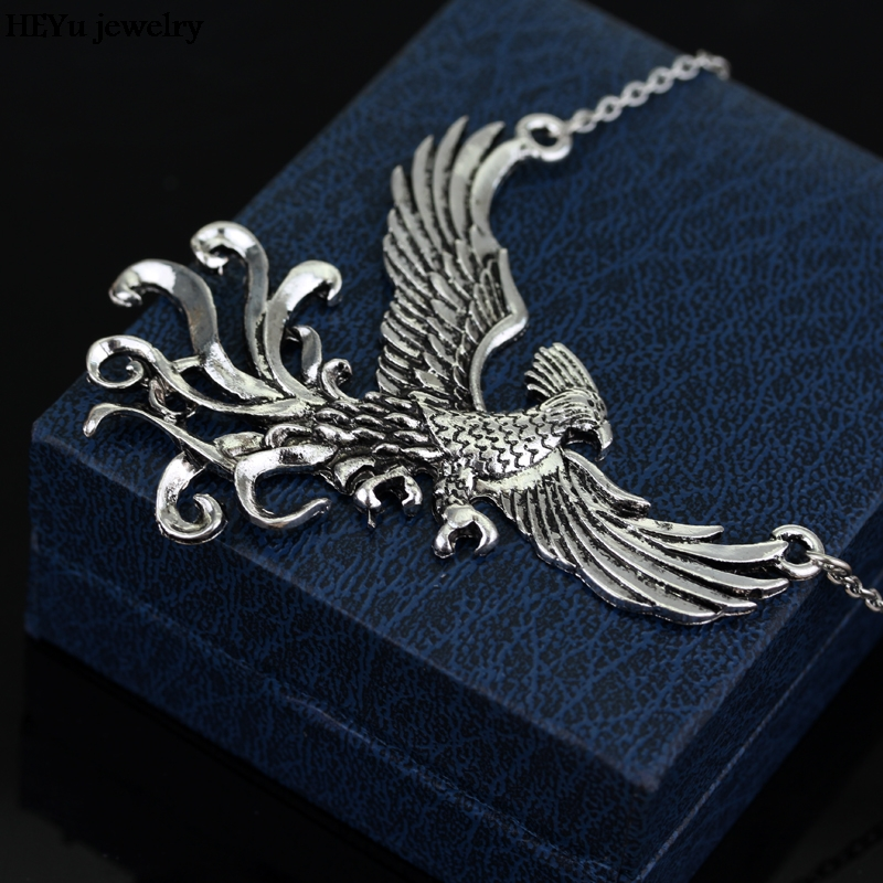 Phoenix fire bird necklace vintage antique silver firebird pendant phoenix fire bird necklace vintage antique silver firebird pendant jewelry for men and women wholesale 20pcs in pendant necklaces from jewelry accessories aloadofball Images