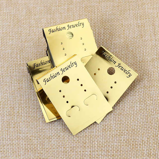 Jewelry Card Customized Logo Earring Display Tags 500pcs Lot Gold Plastic Pvc Stud Earrings