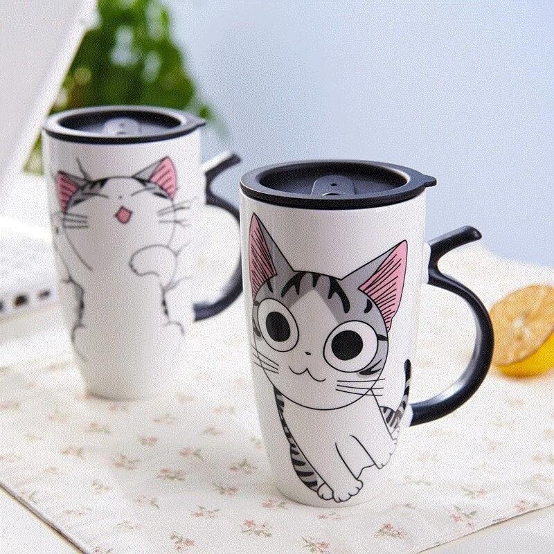 Image 2 - 600ml Cute Cat Ceramics Coffee Mug With Lid Large Capacity Animal Mugs creative Drinkware Coffee Tea Cups Novelty Gifts milk cup-in Mugs from Home & Garden