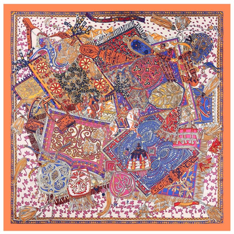 POBING 100% Silk   Scarf   Women Square   Scarves     Wraps   Mongolian Yurt Print Neckerchief Female Foulard Stain Silk Hijab Bufandas