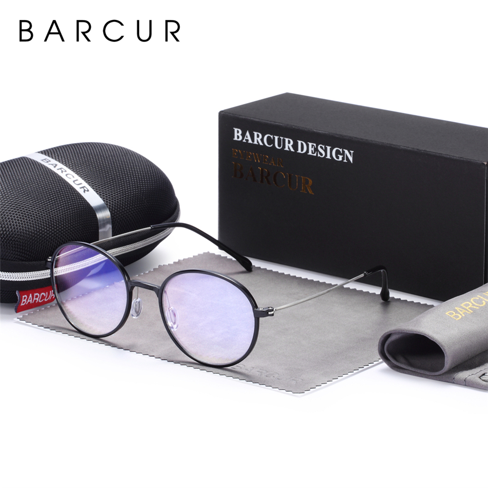 BARCUR New Computer Glasses Round Anti Blue Light Eyeglasses Optical Eye Spectacle UV Blocking Gaming Filter Eyewear