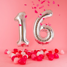 16st Happy Birthday Foil/Latex Balloon 16/32/40inch Sliver Number Sweet Sixteen Girl Party Supplies Heart Baloes