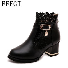 EFFGT Zip Women Boots Thick Heel Platform Shoes Buckle Autumn Winter Sexy Boots Women Knight boots Ankle Boots H67
