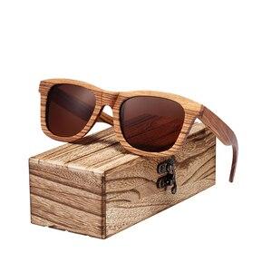 Image 5 - BARCUR Vintage Natura Zebra Wood Sunglasses Women Men Square Sun glasses Polarized Retro Sunglasses