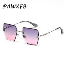 PAWXFB New Rimless Sunglasses Women Men 2019 Square Sun Glasses High quality Gafas de sol Shades