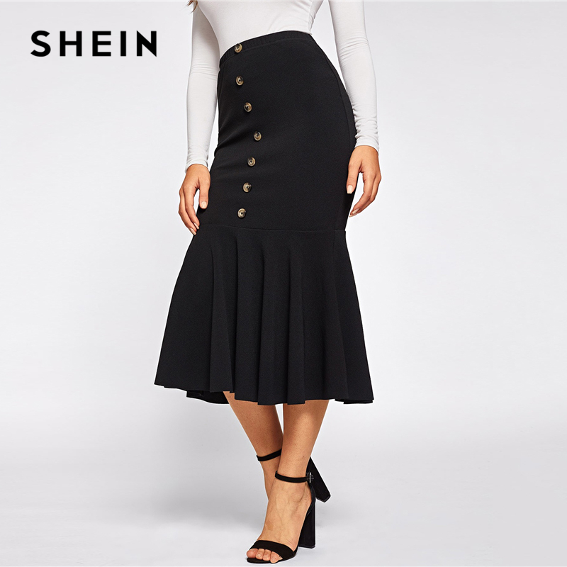 SHEIN Black Elegant Button Front Ruffle Fishtail Hem Long Skirt Women Spring Mid Waist Solid Mermaid Workwear Bodycon Skirts 2