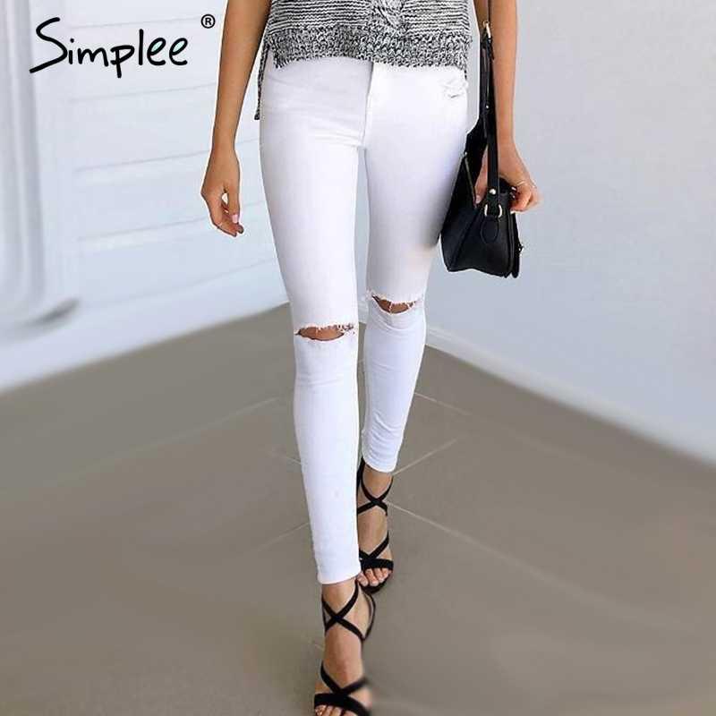 033c28ecd4d Simplee Летний стиль белые рваные джинсы женские джеггинсы крутые джинсовые  брюки с высокой талией Капри женские