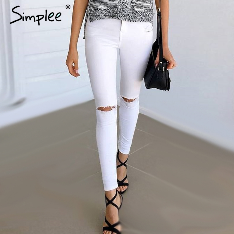 Simplee Summer style white hole ripped jeanss