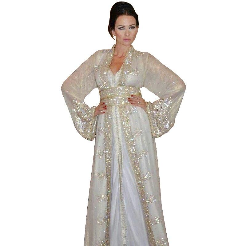 Hot Selling 2016 New Fashion Arabic Dubai Kaftan Dress Fancy Long Sleeves Sequined Women Formal Evening