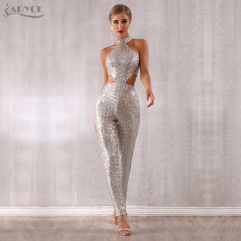 Adyce 2019 New Summer Woman Sequined Club Jumpsuits Sexy Hollow Out Halter Silver Sleeveless Celebrity Party