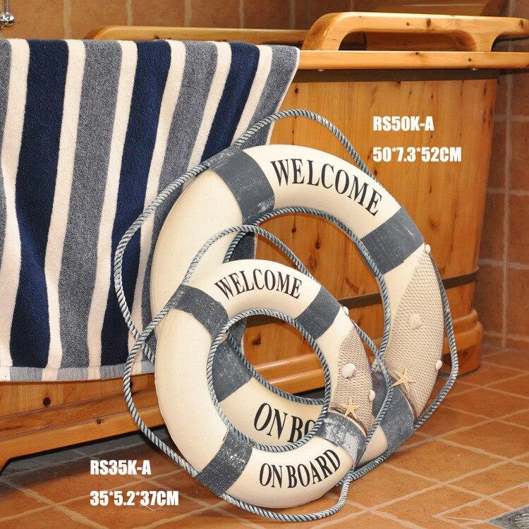 Středomořský styl 35-50 cm Bavlna Záchranný kruh Bar Obývací pokoj Námořní bytové dekorace Řemesla Nástěnný věšák 3D nálepka domácí dekorace