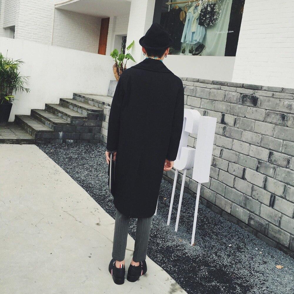 Noir Couleur Et Chanteur Double Manteau Vintage Automne Boutonnage Hommes Costumes Mode 2016 Laine Lâche Grand Solide Revers De Hiver Nouvelle qTxnX1Hw6