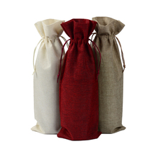 100pcs Customized Handmade Jute Wine Bottle Covers 5.9″x15.35″ Burlap Drawstring Linen Pouch Wedding Christmas Gift Bags
