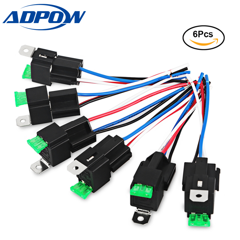 Adpow 6pcs 4pin Fuse Relay Switch Harness Set 12v Dc Spst
