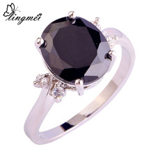 New Sexy Lady Black Spinel White Topaz 925 Silver Ring Size 6 7 8 9 10 11 12 For Women Jewelry Rings Free Shipping Wholesale