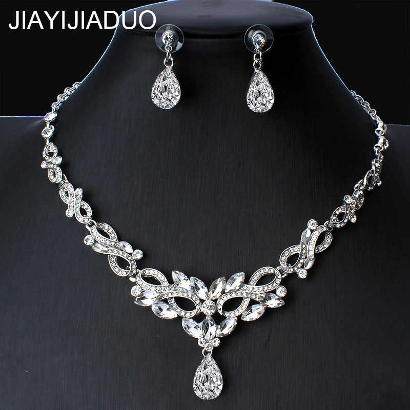 jiayijiaduo Heart Crystal Bridal Jewelry Sets Wedding Jewelry Necklace Sets African Beads Jewelry Sets Christmas Gift