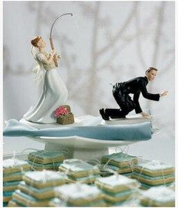 Envío Gratis, Popular, Topper de pastel de boda, Topper de pastel personalizado, decoración y recuerdo de boda para pescar en el estanque