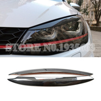 For Volkswagen Golf 7 GTD Mk7 Carbon Fiber Headlight Eye Lid Eyebrow Cover 2013 2018