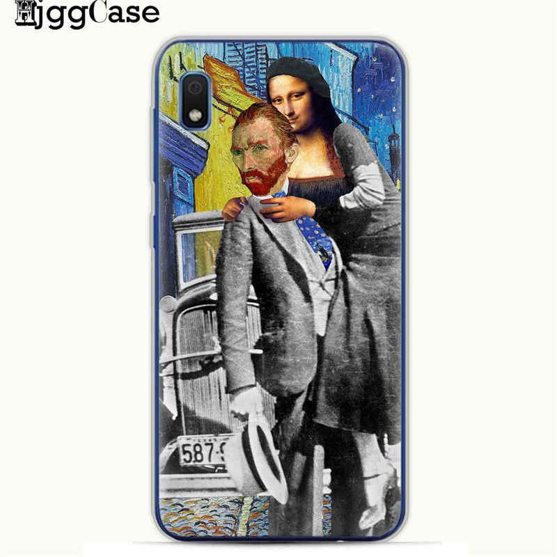 Mona Lisa grappige Parodie Art Gevallen Voor Samsung A10 A20 A30 A50 A70 A6 A8 A7 A9 S10 S10e Plus 2018 Van gogh Sterrenhemel TPU Telefoon Cover