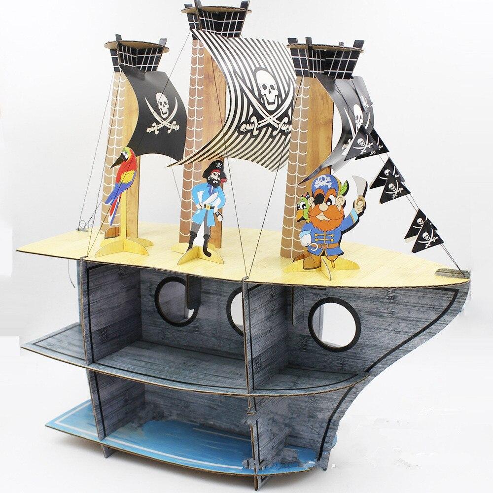 delicate original pirate ship cartoon cake rack cake party