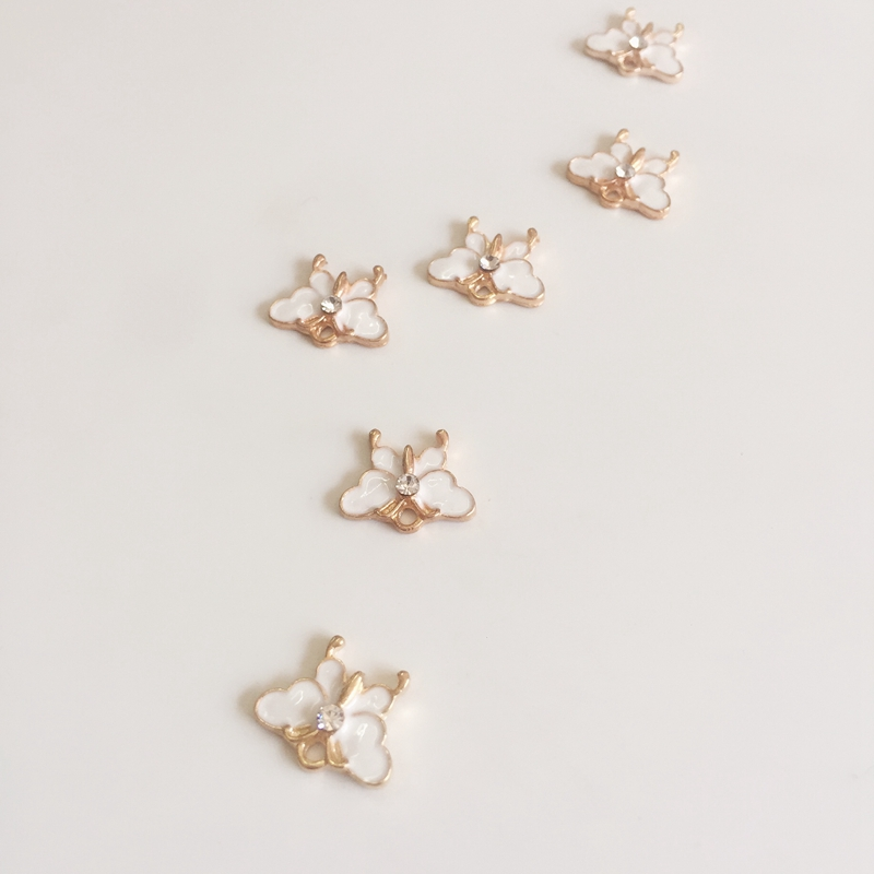 Glazing Pendants Jewelry Charms Alloy Butterfly-Shape Gold 11--14mm KC White 50pcs/Pack