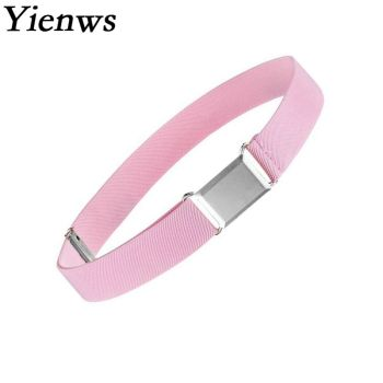 Yienws Cinto Girls Belts Pink Elastic Strap Canvas Belt for Children Kids Cowboy Waist Belts Adjustable Black Navy Kemer YIB13