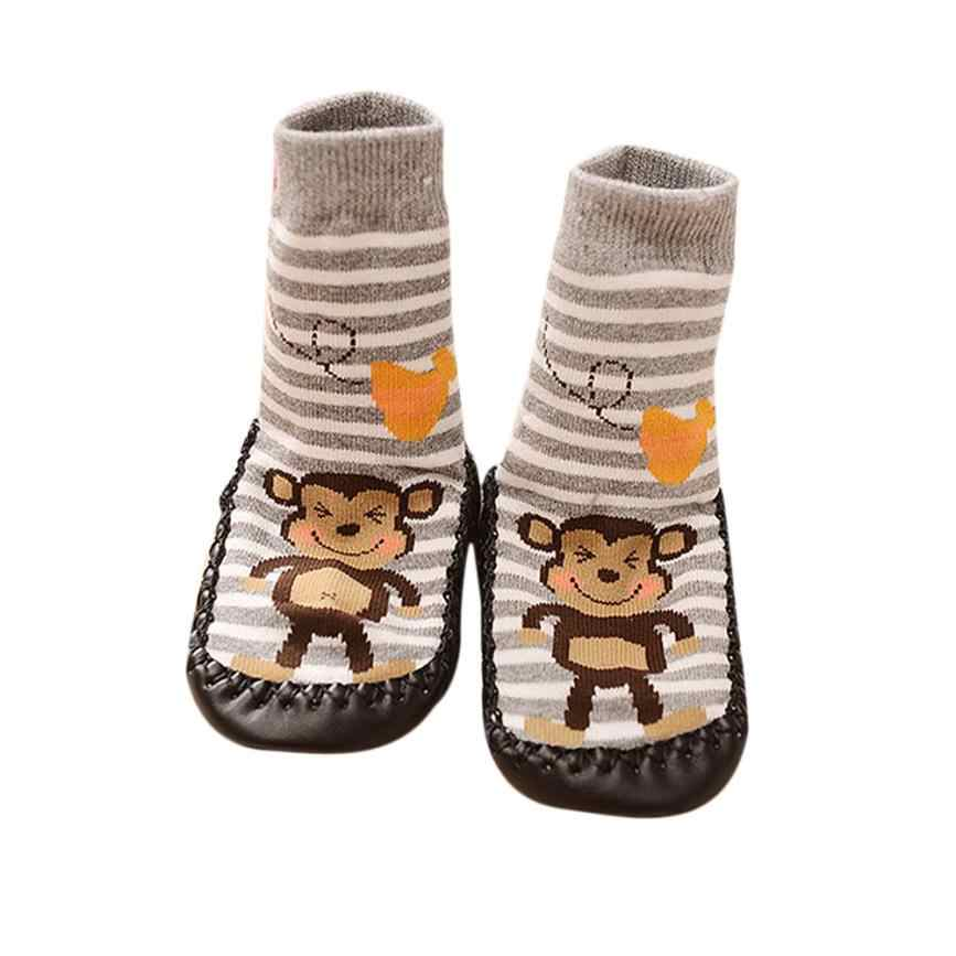 All season use Cartoon monkey Kids Toddler Baby Anti-slip Sock Shoes Boots Slipper Socks botas  de bebes # factory supply