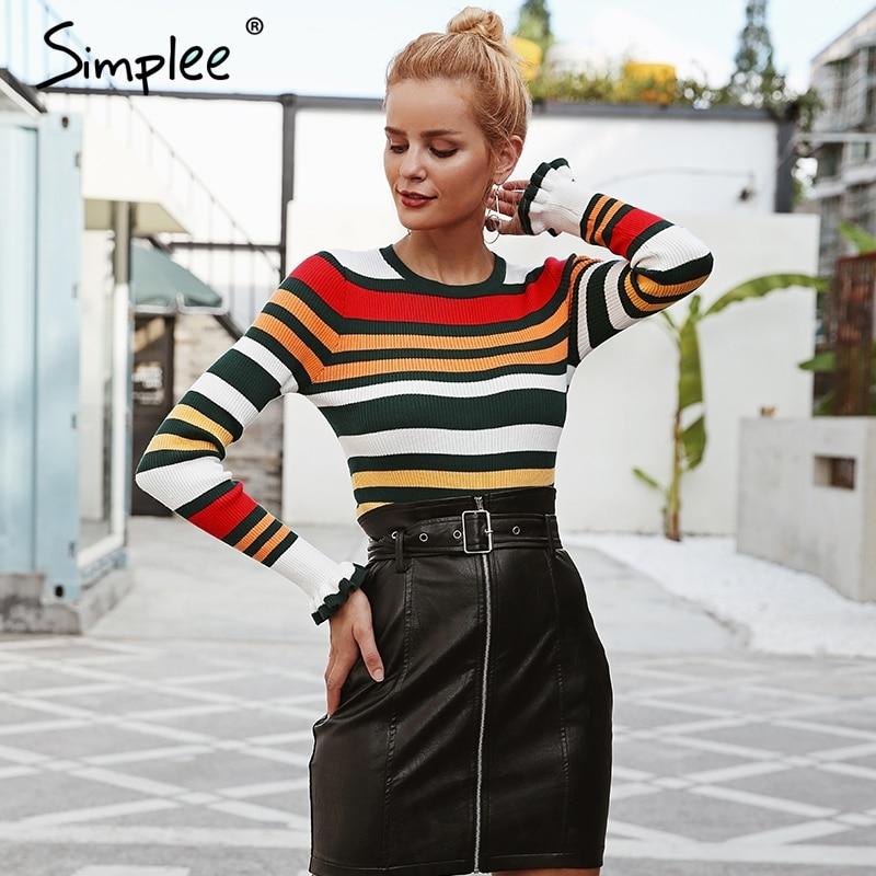 Simplee Ruffles Stripe Slim Sweater S18ST0036
