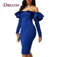 Dreszdi Latest Double Ruffles Off Shoulder Womens Short Party Dress Sexy Long Sleeve Club Wear Elegant