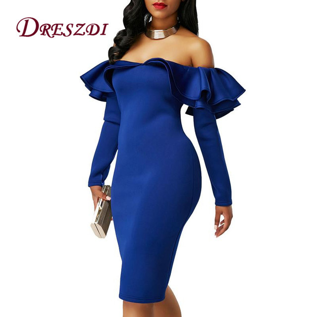 67e34c7ea16 Dreszdi Latest Double Ruffles Off Shoulder Womens Short Party Dress Sexy  Long Sleeve Club Wear Elegant Bodycon Dresses