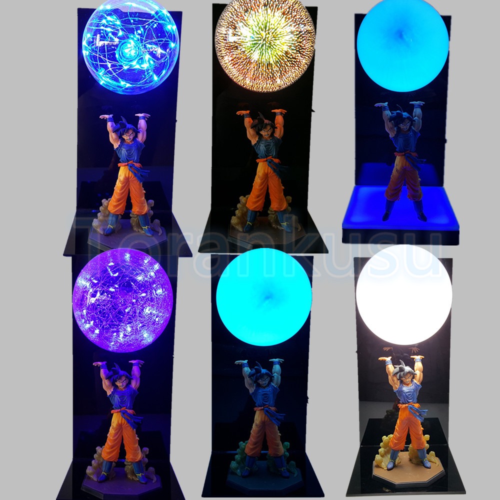 Dragon Ball Z Figure Son Goku Spirit Bomb DIY Display Led Lamp Anime Dragon Ball Goku Super Saiyan Collectible Model Toy DIY142