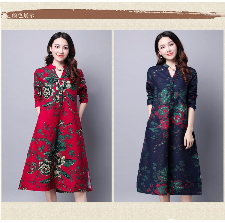 62b1990c9214 Causal Autumn Dress Chinese Style Red Blue Linen Cotton Women ...