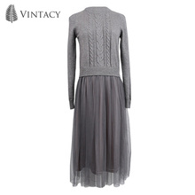 Women Knitted Mesh Dress Patchwork Pullover Round Neck Long Dress Autumn Spring 2018 Lady Fashion Gray Elegant Casual Dress