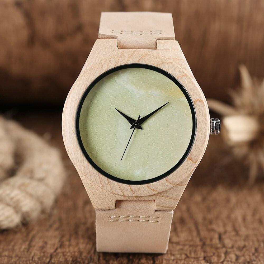 Moda de madera relojes hombres estilo albino caso de cuero Gree Dial - Relojes para hombres