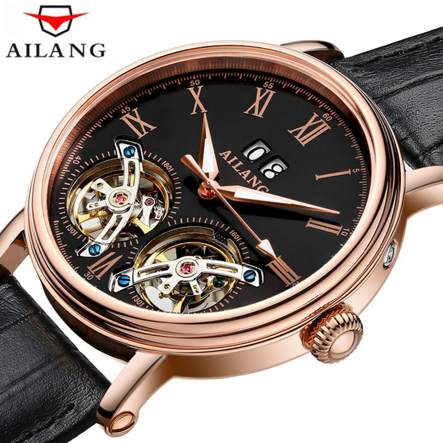Sport Double Tourbillon Mechanical Watch Waterproof Mens Watches Top Brand Luxury Leather Date Sapphire Clock relogio masculino 2018 ailang sapphire automatic mechanical watch mens top brand luxury waterproof brown genuine leather watch relogio masculine