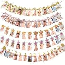 Banderola de Feliz Cumpleaños de un año, accesorios de foto rosa, Bandera Azul de Foto mensual, Banner de aniversario, suministros para fiesta de Baby Shower