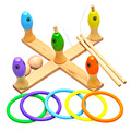 Baby Kids Fishing Game Toy Children Wooden Fishing ,Ring Toss, Bowling Games Toy  3-in-1 toy set Color Box Packing