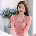 Senhora elegante Moda Lace Branco Blusas Plus Size S-3XL Malha Respirável Preto & Rosa Mulheres Outono Camisas Casuais