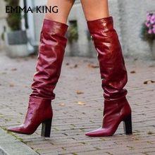 08b95a49c8 New Sexy Red PU Botas De Cano Alto Moda Feminina Boate Apontou Rugas Áspero Modelo  Passarela Sobre O Joelho Botas Sapatos de fes.