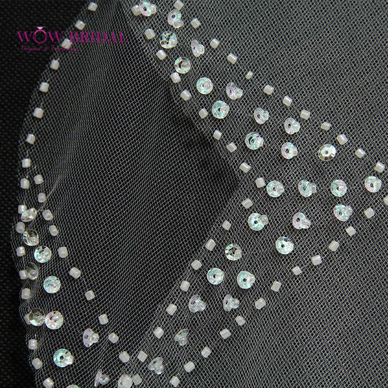 Wowbridal Graceful Brautjungfer Hochzeit Schleier 2016 Drei Schicht Pailletten Perlen Rand Organza Braut Zubehör